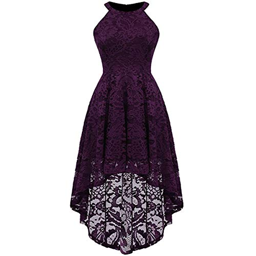 Women's Vintage Halter Floral Lace Hi-Lo Backless Bridesmaid Party Long Maxi Dress Sleeveless Casual A-Line Pleated Short Wedding Prom Retro 50s 60s Cocktail Formal Swing Dress Deep Purple Medium