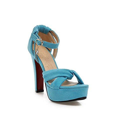 AgooLar Mujeres Hebilla Tacón ancho Cuero Puntera Abierta Sólido Sandalia Azul
