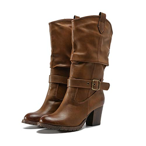 DETAWIN Women Round Toe Mid Calf Boots Vintage Square Slip On Western Cowboy Block Heel Boots