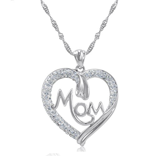 Amanda Rose Collection Sterling Silver Mom in Heart Pendant-Necklace Made with Swarovski Crystals