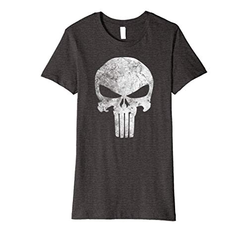 Skull Tee Womens Premium T-shirt - Womens Marvel Punisher Skull Symbol Distressed Premium T-Shirt Large Dark Heather