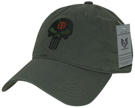 Rapiddominance Relaxed Graphic Cap with Punisher Skull, Olive ()