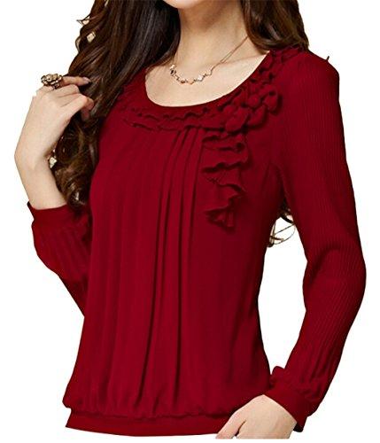Skirt Blouse (C2U Women Pullover Elegant Wave Flouncing Long Sleeve Chiffon Shirt,XX-Large,Wine)