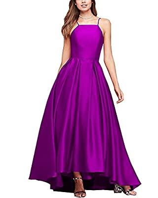 Now and Forever Women's Spaghetti Strap High Low Satin Prom Dresses Asymmetrical Formal Evening Party Gowns
