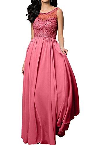 Lang Aermellos La Abendkleider Champagner Anmutig Linie Festlichkleider Wassermelon Rock Ballkleider Braut Promkleider A mia qqwSIpz