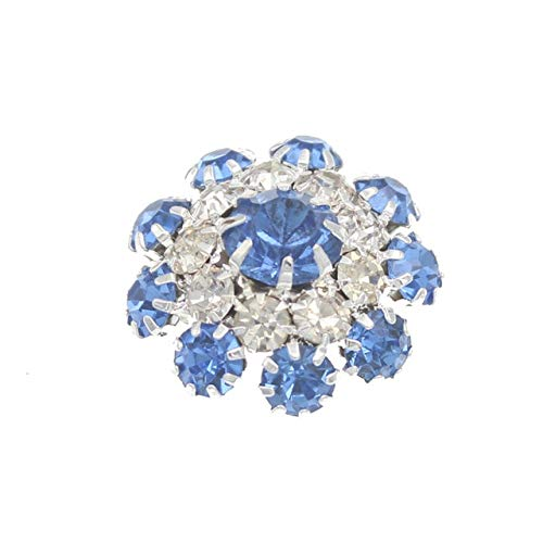 (Maslin Rhinestone Shank Crystal Buttons for Clothing DIY Metal Sewing Bouton Silver Bottoni Garment Botones for Craft Decorativos 10pcs - (Color: 3 Light Blue Button))