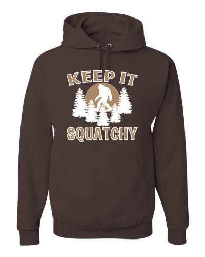 Medium Chocolate Adult Keep It Squatchy Bigfoot Sasquatch Hooded Sweatshirt Hoodie