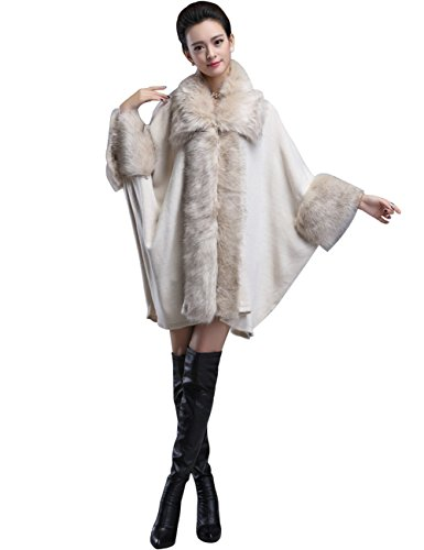 Aphratti Women's Faux Fox Fur Shawl Clock Coat One Size Full Beige