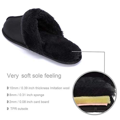 FUNKYMONKEY Warm Slippers Faux Fur Slip On Womens House Shoes
