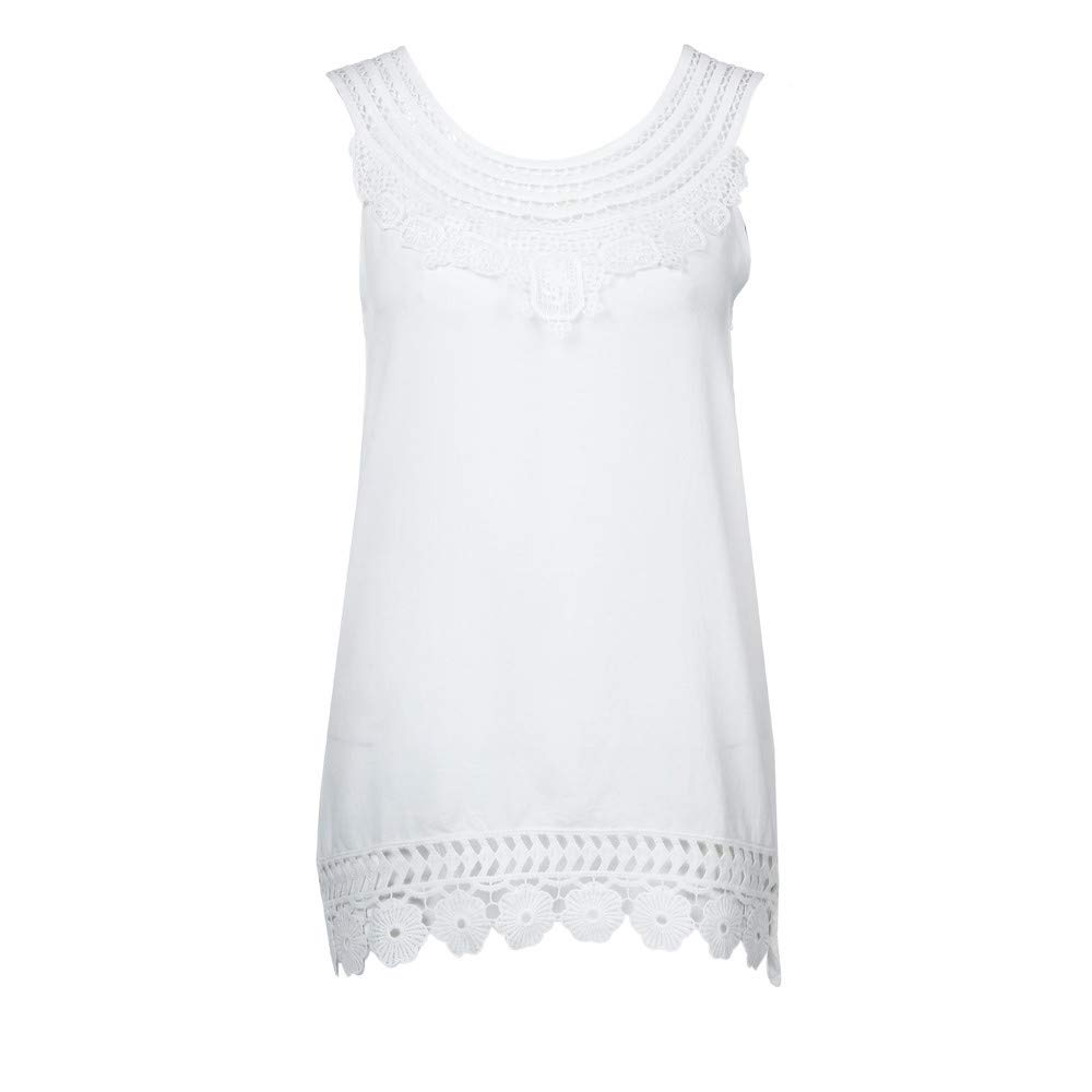 iYBUIA Women O-Neck Sleeveless Pure Color Lace Plus Size Vest Loose T-Shirt Blouse with Hollow Hem White