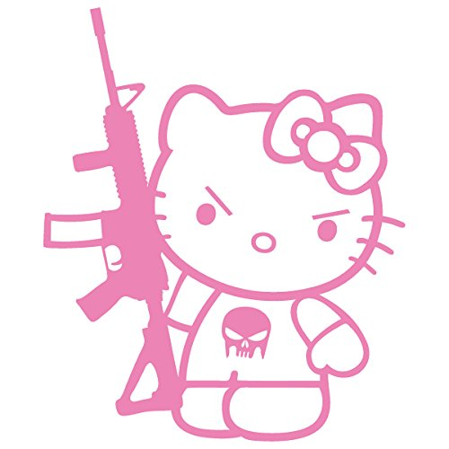 Hello Kitty Fender - Hello Kitty Machine Gun M-16 / Vinyl Decal Sticker (HK-18) (4'' x 3.3'', Pink)