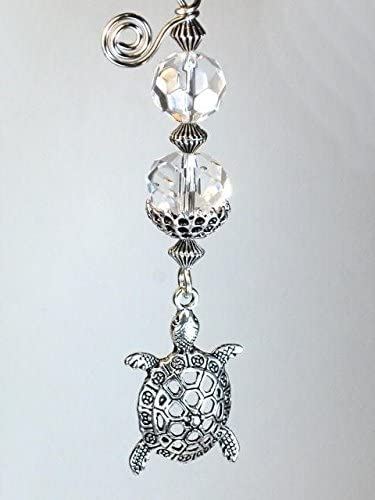 Silvery Filigree Turtle with Faceted Clear Glass Ceiling Fan Pull Chain