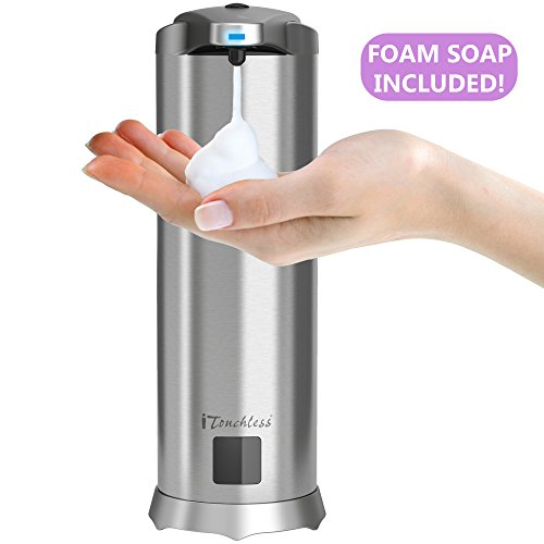 iTouchless Ultraclean Automatic Sensor Foam Soap Dispenser, Rust-Free Stainless Steel with 28 Fl. Oz. Sweet Water Scent Foaming Hand Wash Refill, Touchless Pump for Bathroom & Kitchen