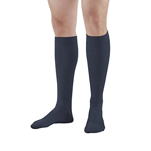 Ames Walker AW Style 111 Cotton 20-30mmHg Firm Compression Knee High Socks Navy Large - Graduated Compression - Relieves tired aching and swollen legs - symptoms of varicose veins - Soft Knit ()