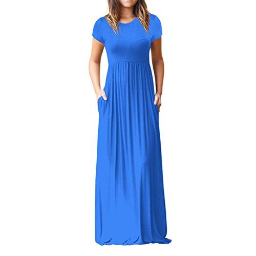 Ansenesna Robe Longue LGante  Manches Courtes RTro Avec Poches Robe De SoirE Pour Femmes Bleu