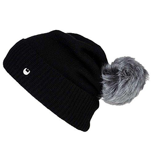 UGG WOMEN'S LUXE CUFF HAT W/ OVERSIZED TOSCANA POM (BLACK)