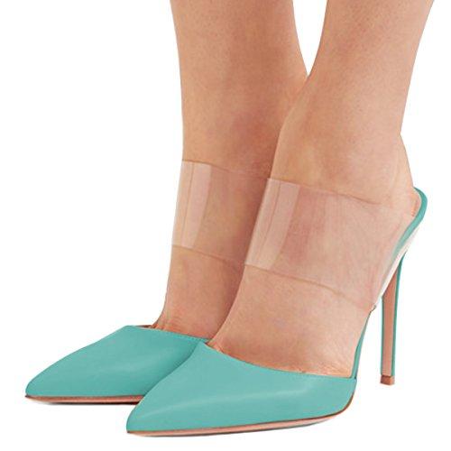 Fsj Vrouwen Strappy Stiletto Hoge Hakken Clear Sandalen Puntige Neus Sexy Party Schoenen Maat 4-15 Us Blue