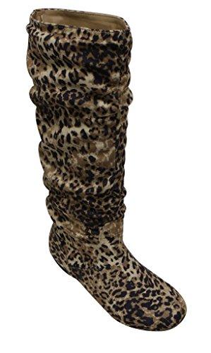 Limone W0049 Donna Punta Tonda Ginocchio Alto Morbido Stivali Scamosciati A Pieghe Leopard 6