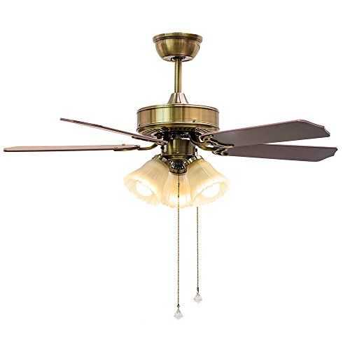 Huston Fan 3-Light Ceiling Fan Light with 5 Blade,42'' Bronze Fandelier Modern Indoor Quiet Fan Chandelier,Only Warm Light,Reversible