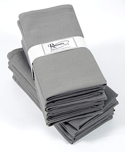 Cotton Dinner Napkins 12 Pack, 19x19 Inches, Charcoal, 100% Cotton, Soft and Comfortable - Wedding Napkins, Cocktails Napkins, Easy Care Napkins, Ideal for Events and Regular Home Use ()