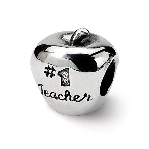 925 Sterling Silver Charm For Bracelet #1 Teacher On Apple Bead School Graduation Career Hobby Fine Jewelry Gifts For Women For Her