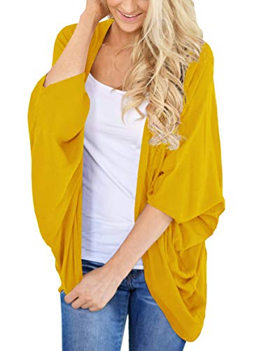 (PRETTODAY Women's Summer Loose Kimono Cardigans Batwing Sleeve Sheer Shawl Cover ups Yellow)