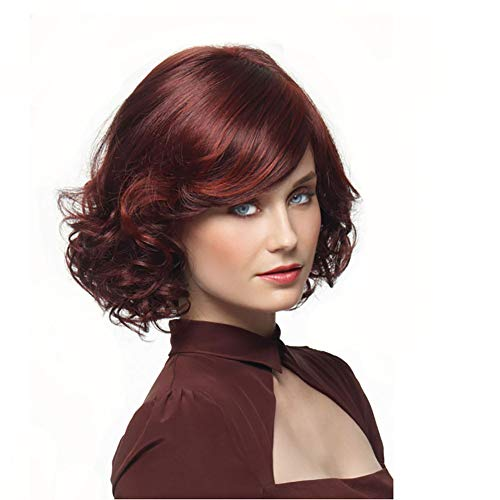 XIAOWEIBA Short Curly Wig with Female Baby Gradient Wine red Hair Brazilian Virgin Wig]()