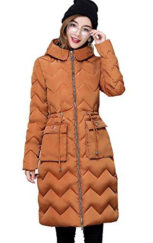 Blouson Chaud Doudoune Manches Capuche Vogue Manteau Bigood Longue Caramel Femme Longues zax46n