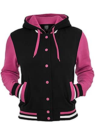 Urban Classics Women's Hooded College Jacket X-Small Black And Pink