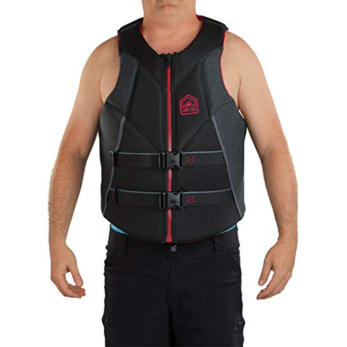 - Liquid Force Rush Life Jacket (Black/Red, Size : L)