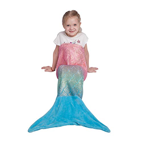 Kids Mermaid Tail Blanket,Plush Soft Flannel Fleece All Seasons Sleeping Blanket Bag,Rainbow Ombre Glittering Fish Scale Design Snuggle Blanket,Best Gifts for Girls,17