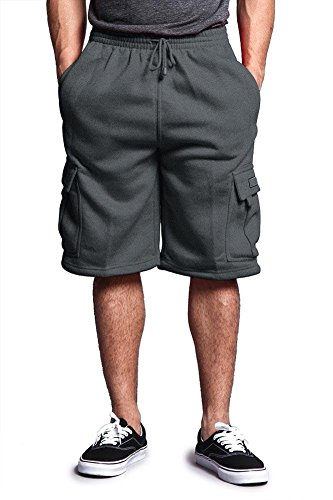(Victorious Men's Solid Fleece Cargo Shorts DFP1 - Charcoal - Large)