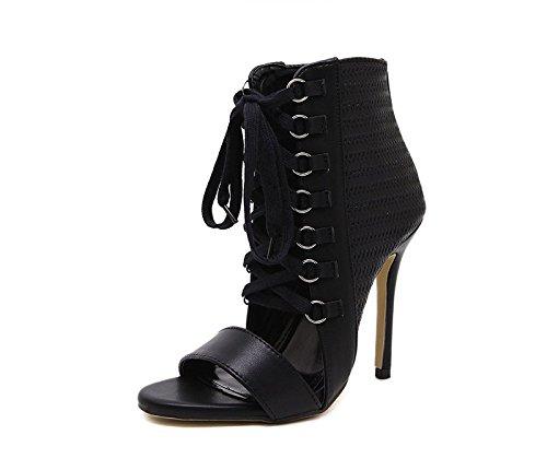 Talons Cross Chaussures KHSKX Sont Les Avec Sandales Correspondent Des Des Cuir Noires En Lace Bien Femmes Des Summer Forty 8 5Cm Chaussures 4Xqgw8RX