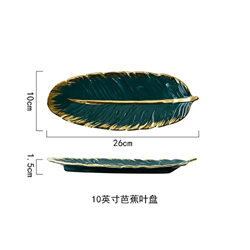 - WXLHBSTM wi9nvL6roX5UlM8-26X10X1.5cmGreen banana leaf shape ceramic plate gold porcelain appetizer dessert jewelry dish dishware sushi tableware