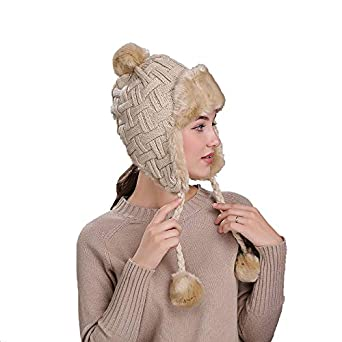4385db07 Women's Bomber Hat Wool Knitted Snow Hats Pom Solid Trapper Aviator Cap  Faux Fur Earflaps Russian Ushanka at Amazon Men's Clothing store: