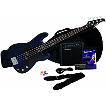 crescent electric bass guitar starter kit transparent blue color includes amp. Black Bedroom Furniture Sets. Home Design Ideas