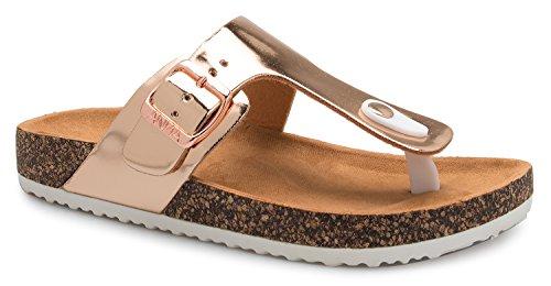 OLIVIA K Women's Casual Buckle T Strap Thong Strap Sandals Flip Flop Platform Footbed by OLIVIA K