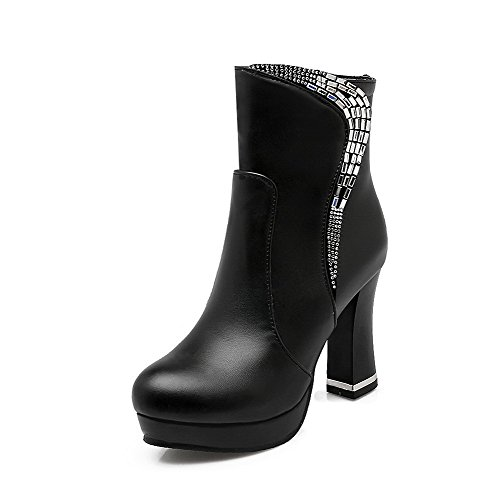 Black Polish Allhqfashion Round Women's Heels High Closed Dull Zipper Low Toe Boots pu top xxR1T7X