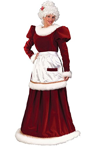 Traditional Velvet Mrs Santa Claus Adult Costume with Hoop Medium Large