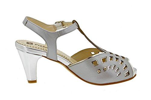 Calzado mujer confort de piel Piesanto 4280 sandalia fiesta zapato cómodo ancho Gris