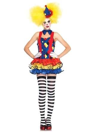 3 PC. Ladies Giggles the Clown Suspender Tutu Dress - Medium - Blue/Red