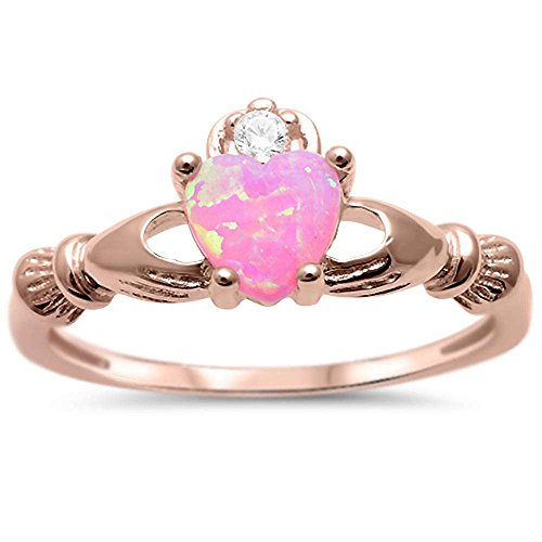 Pink Rose Ring (Sterling Silver Rose Gold Plated Lab Created Pink Opal & Cubic Zirconia Ring Sizes 5)