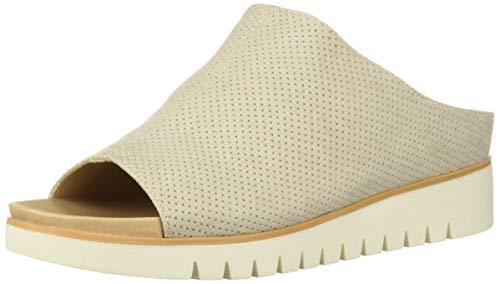 Dr. Scholl's Shoes Women's GO for IT Slide Sandal, Oyster Microfiber Perforated, 8.5 M US