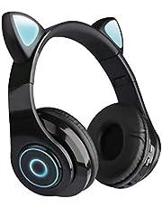 Zestaw słuchawkowy Bluetooth z funkcją redukcji szumów z kreskówki, muzyka kobieca, kot ucho, bezprzewodowy zestaw słuchawkowy Bluetooth LED z mikrofonem, słuchawki dla dzieci i dziewcząt