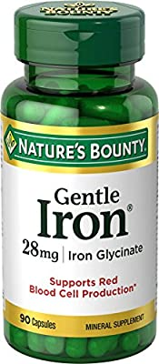 Nature's Bounty Gentle Iron 28 mg 90 Capsules (Pack of 3)