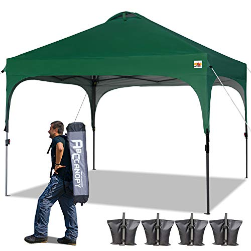 ABCCANOPY Tents 10 x 10 Pop Up Canopy Tent Beach Canopy Instant Shelter Tents Canopy Popup Outdoor Portable Shade with Wheeled Carry Bag Bonus Extra 4 x Weight Bags, 4 x Ropes& 4 x Stakes,Forest Green