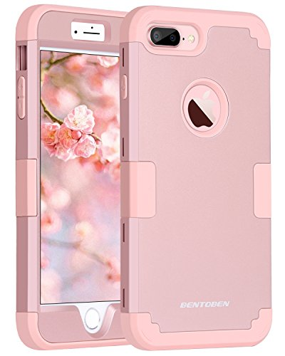 iPhone 8 Plus Case, iPhone 7 Plus Case, BENTOBEN Heavy Duty Shockproof 3 in 1 Slim Hybrid Hard PC Back Cover Soft Silicone Rubber Rugged Bumper Protective Phone Case for iPhone 8 Plus/7 Plus Rose Gold