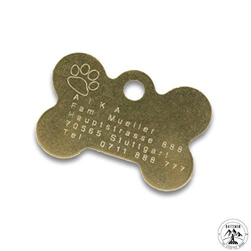 Hundemarke - ID Tag - Adressanhänger - Adressschild - Individuelle - Personalisiert - Diamantgravur (Gold)