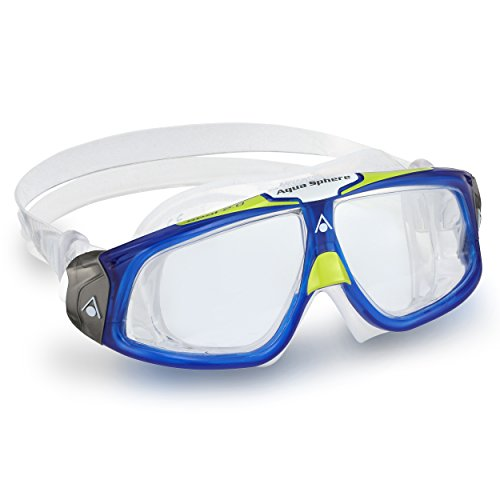 Aqua Sphere Seal 2.0 Adult Swimming Goggles - Blue/Lime with Clear - Goggles Large