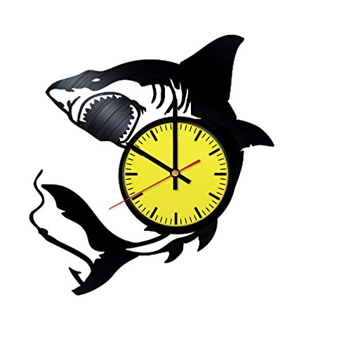 - Shark Vinyl Record Wall Clock - Get unique garage room wall decor - Gift ideas boys and girls - Interior Decor Unique Modern Art Design